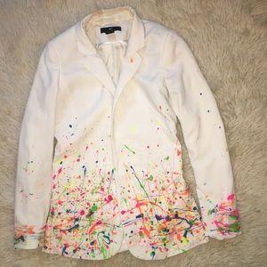 Vintage H&M neon paint Splatter Button Jacket Top